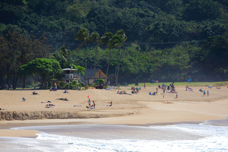People in Hawaii on the beach