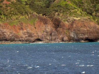 Cruising Napilli Coast of Kauai - Waterfall