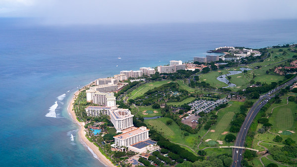 Ka'anapali beach from the air.