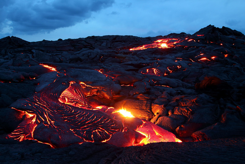 Active surface flow at twighlight. -Big Island, Hawaii