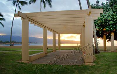 Sunset thru picnic shelter 012212 141