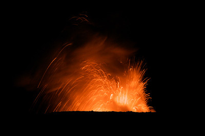 Lava fountain from a Pu'u O'o lava tube of the Kilauea volcano