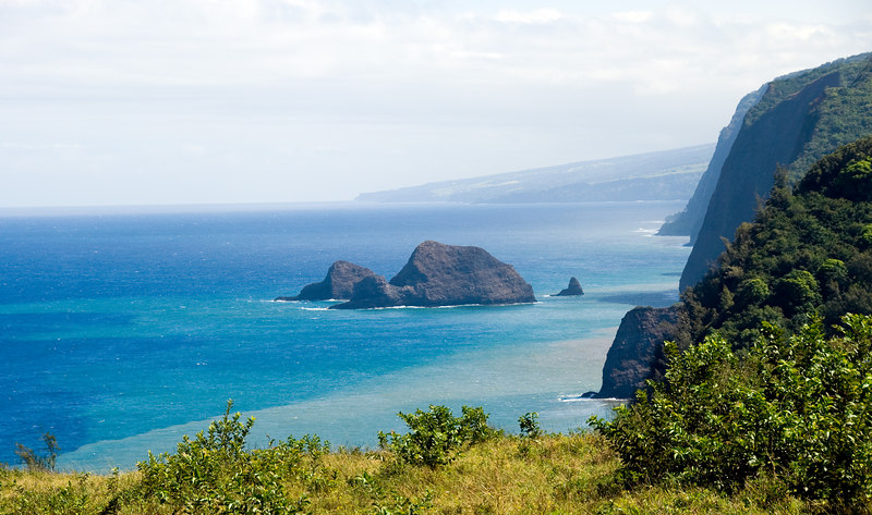 View of the rugged coastline off of Polulu Valley on the north end of the Big Island of Hawaii