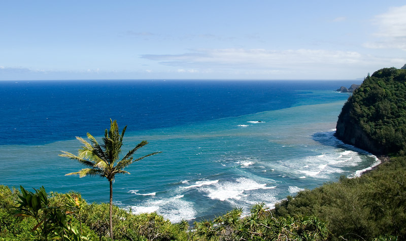 View of the beach at the mouth of Polulu Valley on the north end of the Big Island of Hawaii