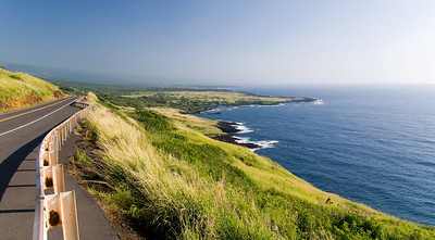 View of Honu'apo Bay from Highway 11 with Punalu'u Black Sand Beach in the distance.