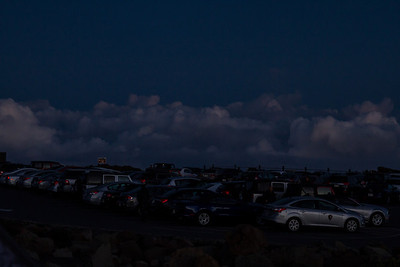 The number of cars gives an idea of how many people had the same idea we did.  Parking lot at the Haleakala Visitor Center. Maui April 23, 2013