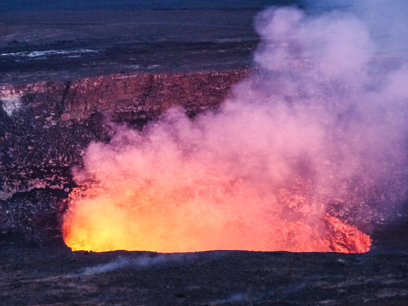 Kilauea Volcano as it begins to get dark.