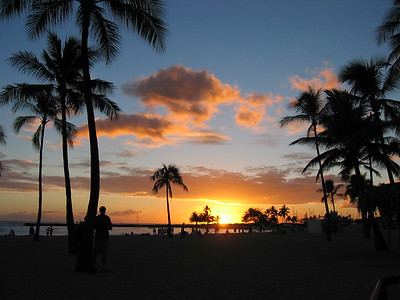 Sunset at Waikiki Beach, Hawaiian Islands