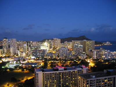 Waikiki skyline at night, Hawaiian Islands