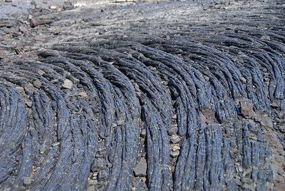 Dried cords of pahoehoe lava along the Chain of Craters road.