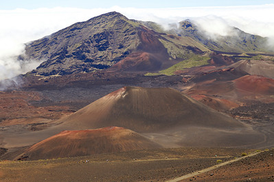 Cinder cones in the summit valley on Haleakala.  Note hikers on the Sliding Sands Trail.