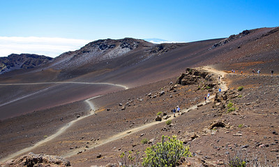 The beginning of the Sliding Sands Trail into the summit valley on Haleakala.
