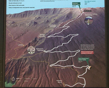 The summit of Haleakala, at 10,023 ft, is reached by a scenic drive that features a number of scary switchbacks along cliff edges.