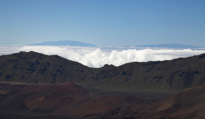 View from Haleakala (Leleiwi Overlook).  In the distance, Mauna Kea and Mauna Lani on the Big Island of Hawaii.
