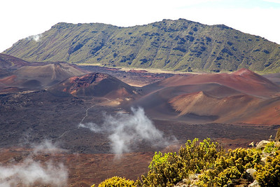 The Sliding Sands Trail winds among cinder cones in the summit valley on Haleakala.