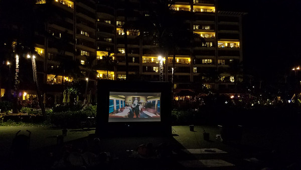 """Polar Express"" outdoor Christmas movie at the Hyatt Residence Club in Ka'anapali."