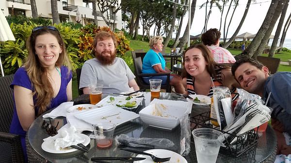 Happy hour at the Pau Huaka'i Bar!    Marie, Jeff, Kari & Ryan.