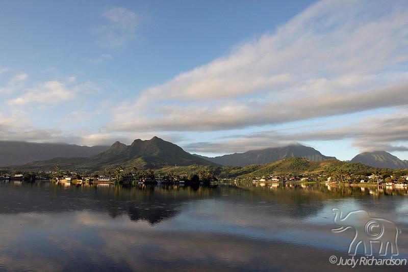 Early morning light on Mt. Olomana and Ko'olau Mountains~Enchanted Lake