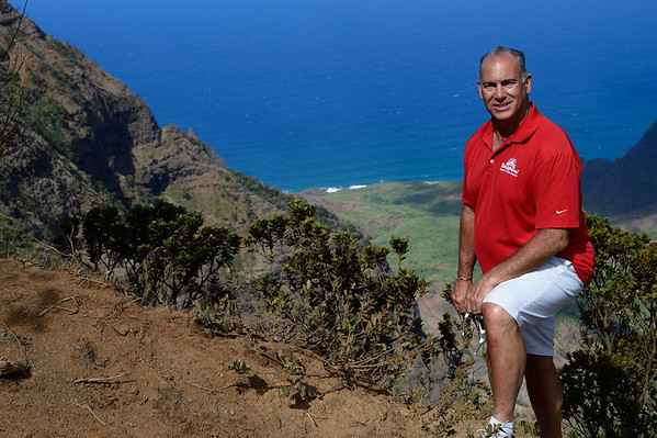 Mark at Waimea Canyoun with Kauai Shoreline