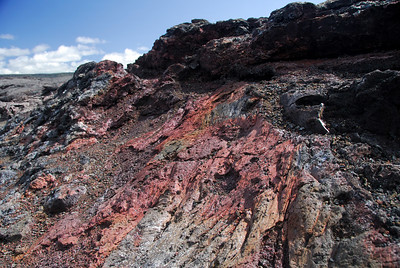 Some brightly colored lava flows seen in the southwest rift zone of Kilauea crater.