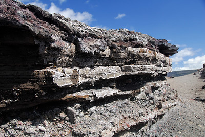 Layers of lava in the southwest rift zone of Kilauea crater.