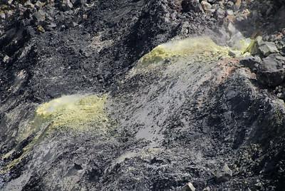 Large sulfer vents seen inside Halema'uma'u Crater.