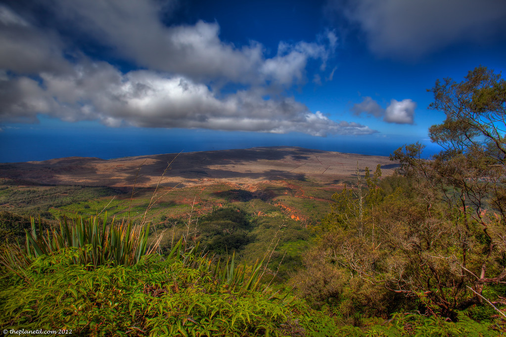 View of Lanai from the highest point on the island off Munroe Trail