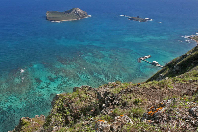 Rabbit Island and portion of Makai Pier from Hang Glider Launching Area