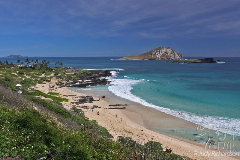 Makapu'u Beach with Manana Island (Rabbit Island) and Kaohikaipu Island (Turtle Island)