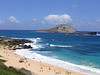 Beautiful beach day at Makapu'u with Manana Island (Rabbit Island) and Kaohikaipu Island (Turtle Island) in background