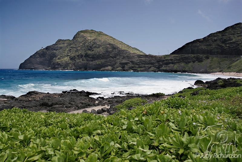 Looking back at Makapu'u Lighthouse and beach