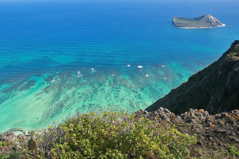 View from Hang Glider Launching Area with Coral and Rabbit Island