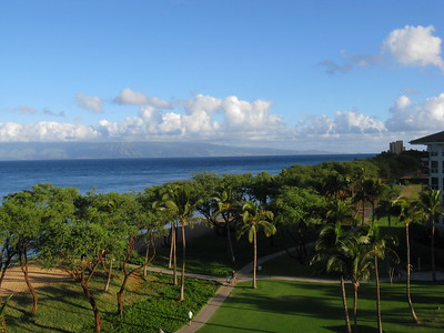 Pacific Ocean from Kaanapali with the Molokai in the distance