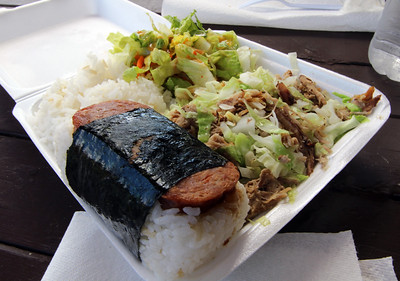 Kalua Pork and Cabbage Plate with Spam Musubi, Local Food, Lahiana, Maui