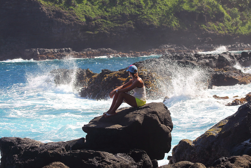 Enjoying the wild and rugged Northeast coastline of Maui