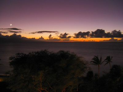 Looking west from Kaanapali at dusk, Maui, Hawaii