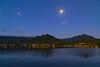 View of Ka'elepulu Pond (Enchanted Lake) in Kailua with Full Moon~6-26-2021