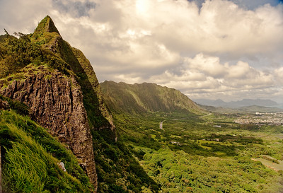 A rare sunny day at the Pali Overlook.  Oahu.