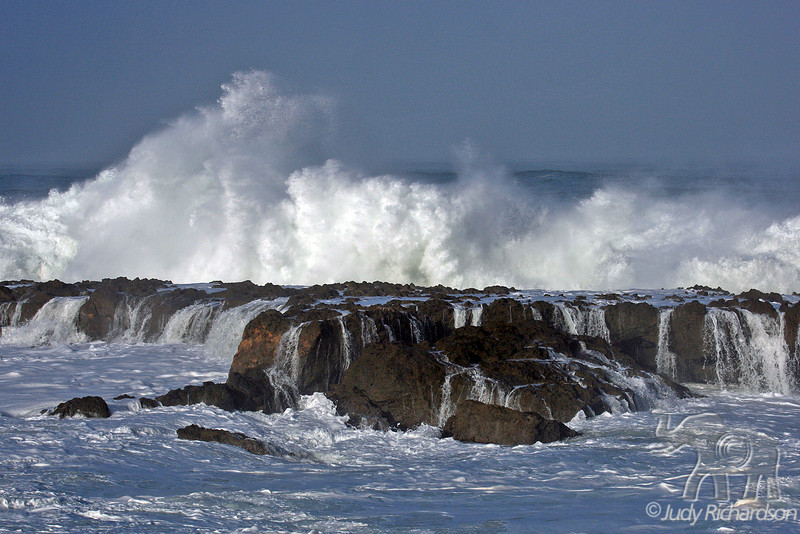 Spectacular wave action pounding Shark's Cove on O'ahu's North Shore