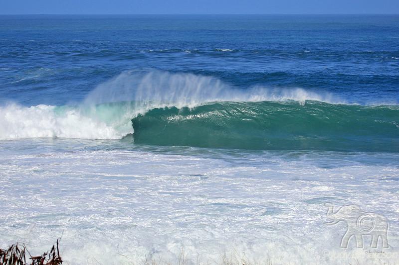 Beautifully formed tube wave at Waimea Bay