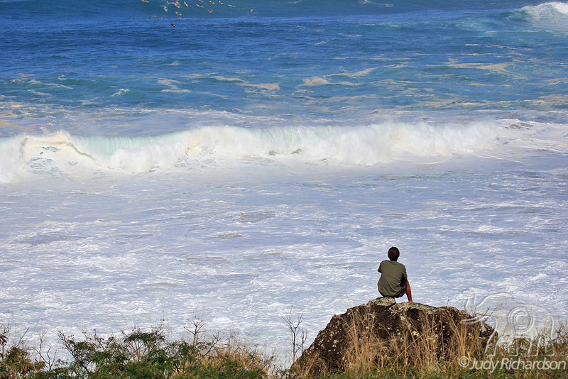 Capturing a great vantage point over-looking Waimea Bay & surf activity
