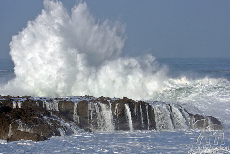 Explosive wave action erupts at Shark's Cove creating waterfalls on tidal pool rocks