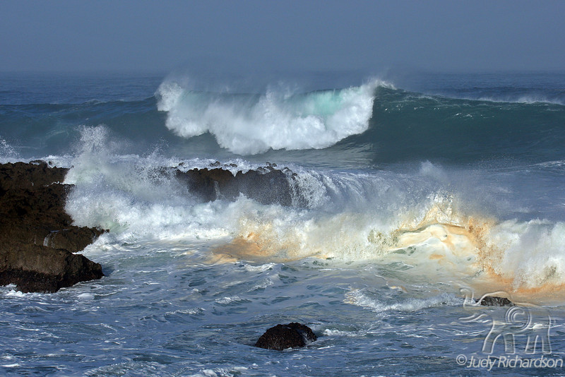 Massive waves churn the sand as it strikes Shark's Cove on O'ahu's North Shore