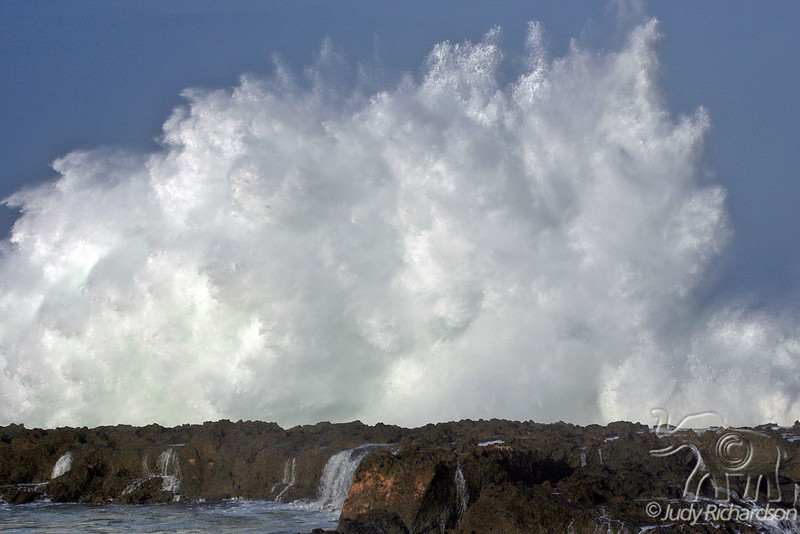 Awesome power of waves hits Shark's Cove on O'ahu's North Shore