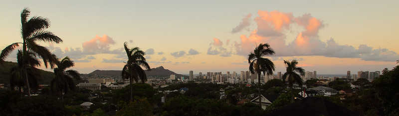 Waikiki and Diamond Head panorama at sunrise