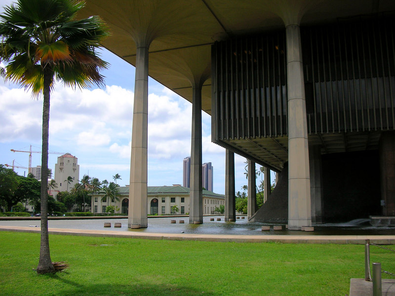17. Hawaii State Capitol Surrounded by Water as an Island.JPG