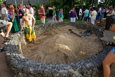 Imu (underground oven) at the Old Lahaina Luau
