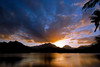 Spectacular sunset over the Ko'olau Mountains and Enchanted Lake in Kailua, O'ahu, Hawai'i.