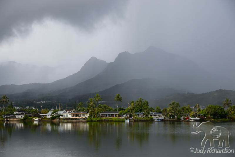 Stormy view of Olomana and Enchanted Lake
