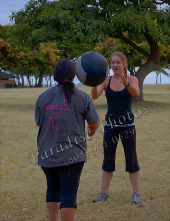 Girls tossing a ball 071411